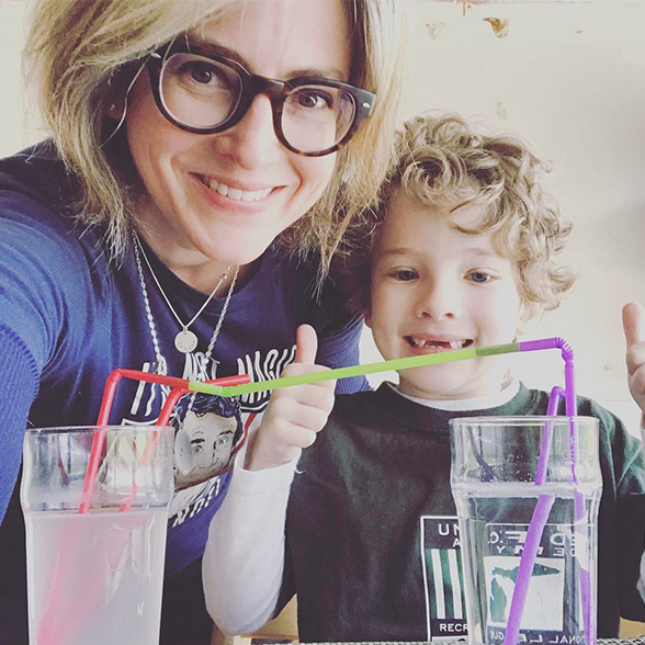 Jen Todd Gray from HelloWorld with her son